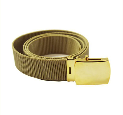 MALE Vanguard NAVY BELT AND BUCKLE KHAKI COTTON WITH BRASS BUCKLE AND TIP XL