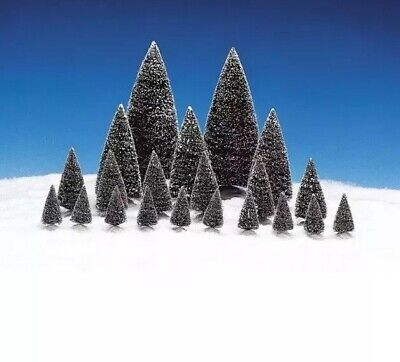 LEMAX FIR Trees Snow Flocked Lot Of 21 Christmas Village Asst. Size-New