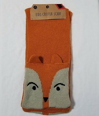 Kids Critter Scarf Fox Orange Winter Pockets Animal
