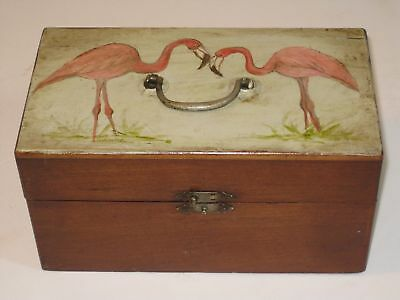 Antique Folk Art Box w/Hand Painted Flamingos On Cover 9 Cubby Holes