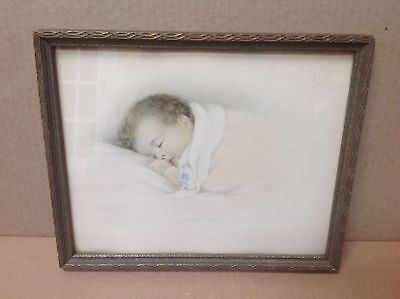 "Vintage 1932 Framed Art Print ""A Little Dream"" A Baby Sleeping"