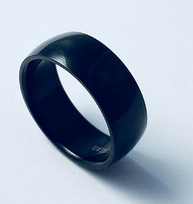 Unisex 316L Black Stainless Steel 8mm Ring Plain Wedding Band Size 6-13 NEW SS55