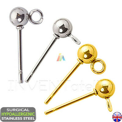 SURGICAL STEEL Hypoallergenic BALL HEAD STUD POSTS 4mm 5mm Earring Findings
