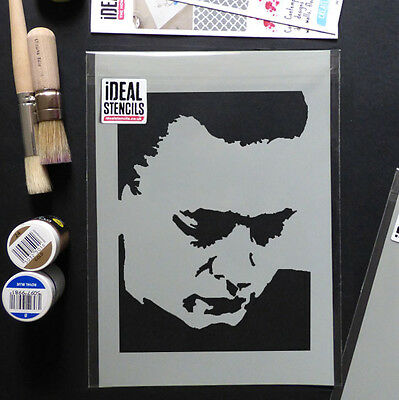 Johnny Cash Stencil Home Dã cor Art Craft Paint Walls Reusable Ideal Stencils