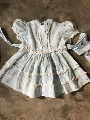 Vintage Baby Dress Handmade Blue Sheer Lace Swiss Dot Embroidered 1950