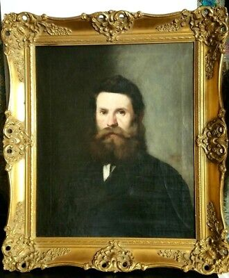 Antique Oil Portrait on Canvas of Bearded Man 19th Century Gilt Gold Frame