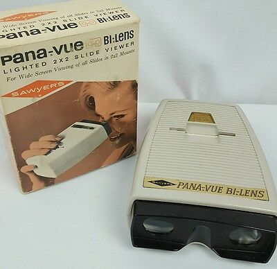 Sawyers PANA-VUE Bi-Lens Lighted 2 x 2 Slide Viewer Tested Works with Box