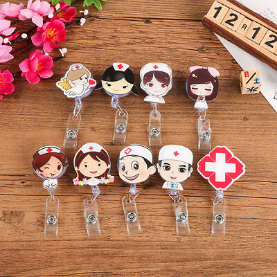 Retractable Reel Recoil ID Badge Lanyard Name Tag Key Card Holder Cartoon Nurse