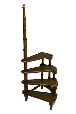 CONTINENTAL WALNUT LIBRARY FOUR-STEP LADDER, antique