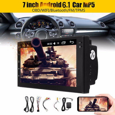 """7"""" Android 6.1 2Din Car MP5 Player WiFi Bluetooth FM OBD TMPS GPS Navigation Set"""
