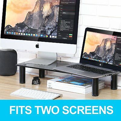 FITUEYES Glass Monitor Riser TV Screen Laptop Stand Height Adjustable Grey