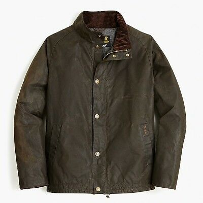 NWT Barbour x J.Crew Sylkoil Duxbury Jacket Size XL Color Olive MSRP $379.99 NEW