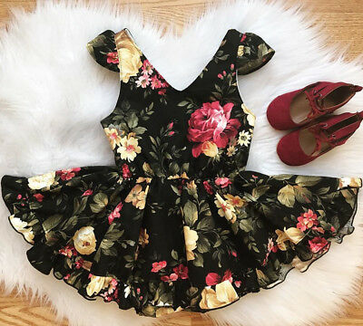 US Stock Princess Kids Baby Girl Dress Floral Party Dress Solid Ruffles Sundress