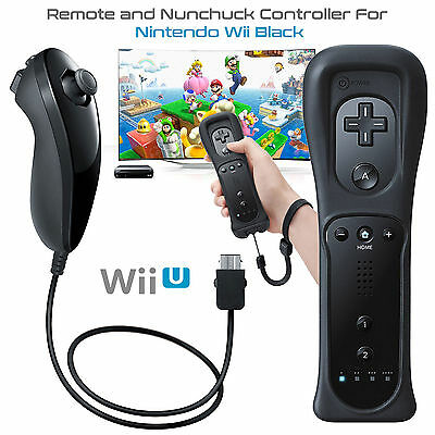 2Pack Motion Plus Wii Remote Controller & Nunchuck & Case For Wii & WiiU Console