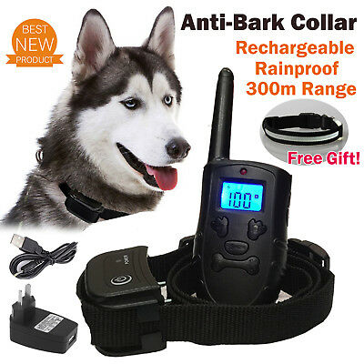 Rechargeable Remote Control Dog Anti-Bark Training Collar Waterproof 3 Modes AU