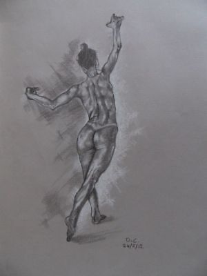 """Drawing in graphite pencil and white pastel """"Study of a dancing nude"""" by David C"""