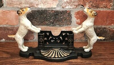 Cast Iron Pair of Fox Terrier Dogs Business Card Holder