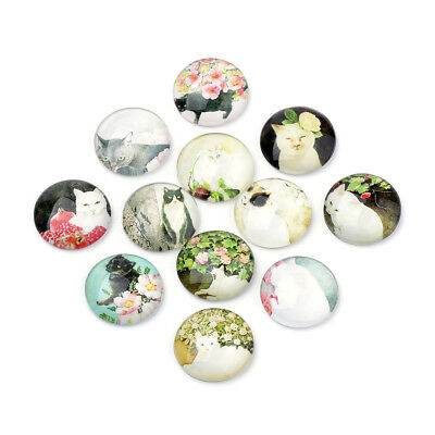 50pcs Oil Painting Style Flatback Glass Cabochons Cat Theme Round Domes 12x4mm
