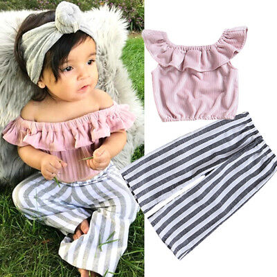 2Pcs Striped Kids Baby Girls Off Shoulder Tops Wide Leg Pants Outfits Clothes US