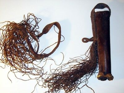 American Indian Antique ca1900 Leather Arrow Quiver With Woven Belt Museum Quali