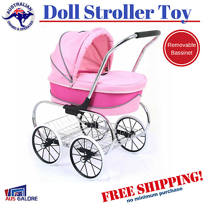 Doll Pram Stroller Mini Toy Kid Girls Children Pink Play Mum Princess For Dolls