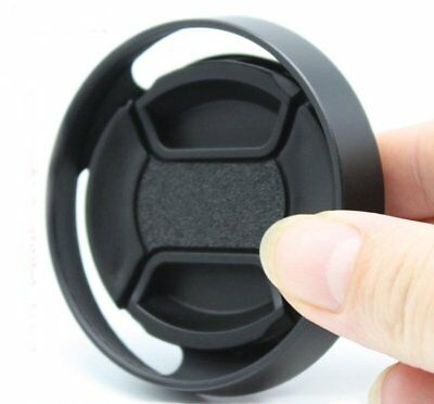 39mm Black Vented Curved Metal Lens Hood For Leica Canon Camera +Center Cap 1