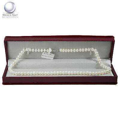"""Pearl Necklace Genuine Freshwater White Pearl Strand Necklace 6.5-7.5mm 18"""" Gift"""
