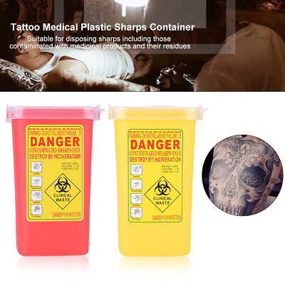 Tattoo Medical Plastic Sharps Container Biohazard Needle Disposal 1L Waste Box