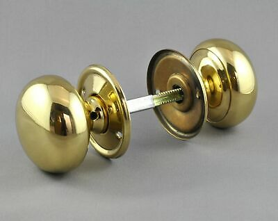 DOOR KNOBS-54mm POLISHED BRASS-PLAIN MORTICE HANDLE SET-Victorian-carpenter lock