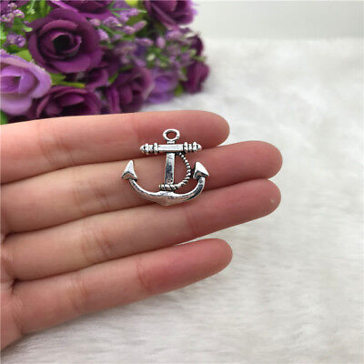 2pcs Anchor W Hearts Charm Tibetan Silver Bead Finding Jewellery Making 34x26mm