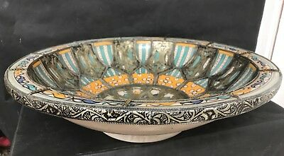 Antique Islamic Large Moroccan Hand Painted Bowl With Silver Overlay