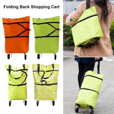 2in1 Big Shopping Trolley Folding Bag Wheels Push Tote Oxford Foldable Luggage