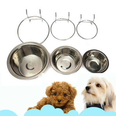 S/M/L Stainless Steel Hang-on Bowl Metal For Pet Dog Cat Crate Cage Food Water