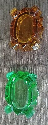 Pair Of Vintage Open Salt Cellar Dishes -- 1 Amber Glass & 1 Green Glass