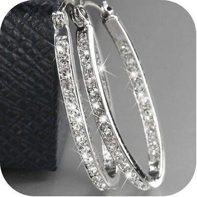 Fashion Women Crystal 18K Gold Plated Silver Shape Hoop Earrings Engagement Ear