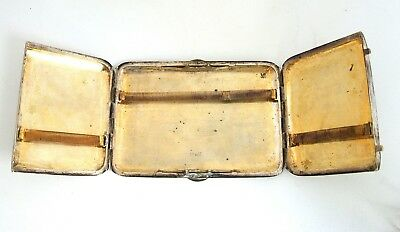 Antique Chinese export Tien Shing Solid Silver n Gold Plated Cigarette Case 19C