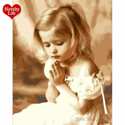 Hot Frame Prayed Girl Oil Painting By Numbers Angel DIY Paint on Wall Kit