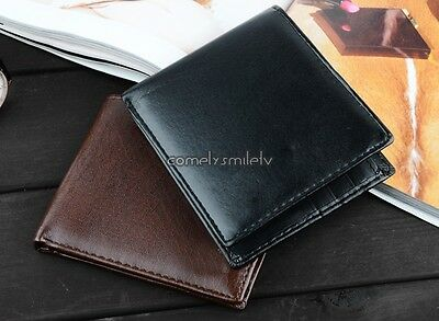Mens Leather Wallet Credit/ID Card Coin Holder Purse Slim Big Capacity Black