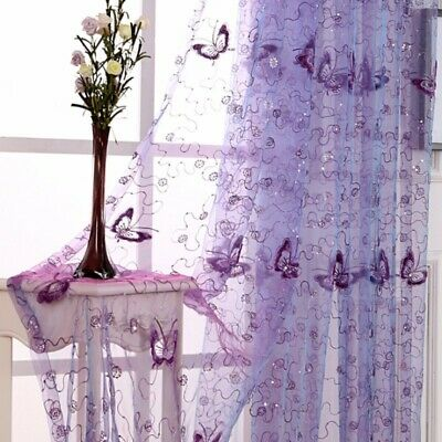 """Butterfly Embroidery Purple Sheer Curtains Romantic Window Drapes 63/84"""" Tulle"""