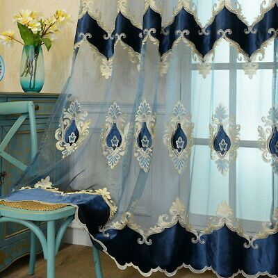 Embroidery Blue Sheer Curtain slight shiny Voile Elegant Room Window Drapes 84""