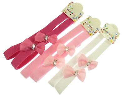 Set of 2x Baby Girls Slim Soft Stretchy Headband with Bow and Plain Headband-eb