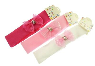 Stretchy Kylie Band Hairband Headband  Lace & Crystal Bow - Baby's Girls-215eb