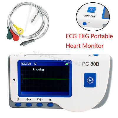 Medical PC-80B Handheld Color Screen ECG EKG Portable Heart Monitor System FDA