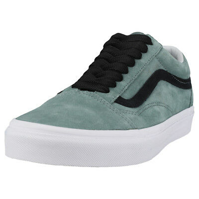 Vans Old Skool Oversized Lace Mens Green Black Suede Trainers