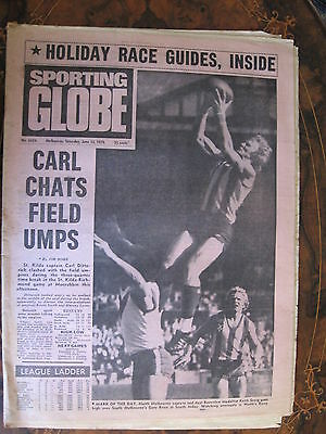 Sporting Globe  JUNE 12 1976 Carl Ditterich Richmond St Kilda