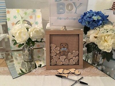Oak personalised Baby shower boy drop box guest book birthday guestbook gift