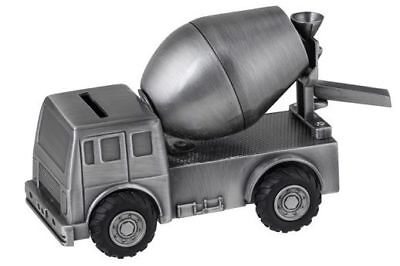 CEMENT TRUCK PEWTER MONEY BOX BANK - kids, baby gift