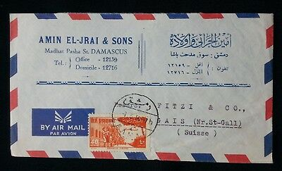 Syria 1956 Air Mail Cover Damascus To Switzerland