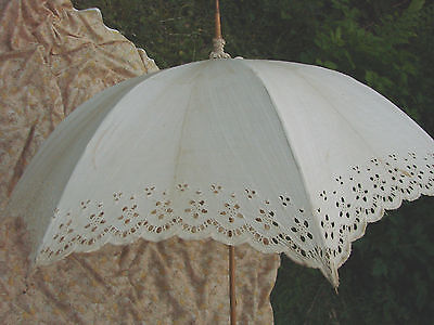 Vintage Edwardian LACE Umbrella 33w 38L ROSEWOOD Handle Ivory