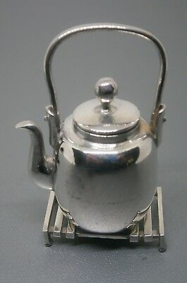 Solid Silver Novelty Miniature Pepperette - Kettle with Stand